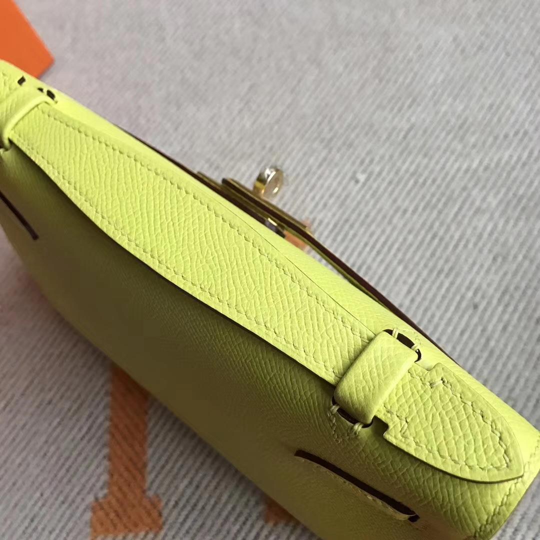 New Arrival Hermes C9 Soupre Yellow Epsom Calfskin Minikelly Pochette 22CM