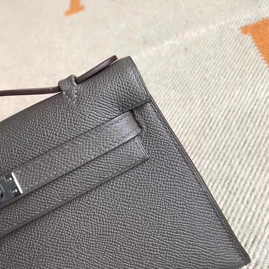Luxury Hermes Minikelly Clutch Bag22CM in 8F Etain Grey Epsom Calfskin
