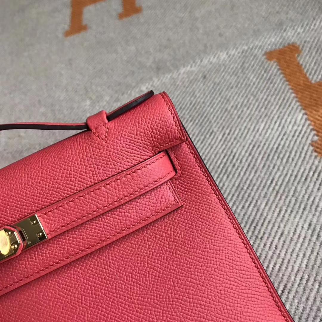 Discount Hermes T5 Peach Pink Epsom Calfskin Minikelly Pochette 22CM