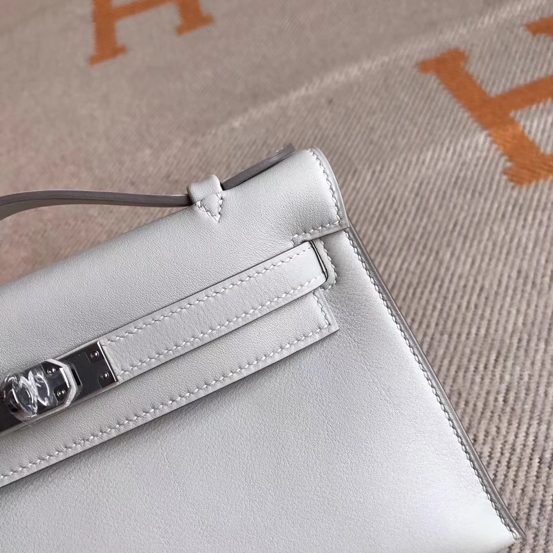 Hermes CK80 Grey Pearl Swift Calfskin Minikelly Clutch Bag22CM Silver Hardware
