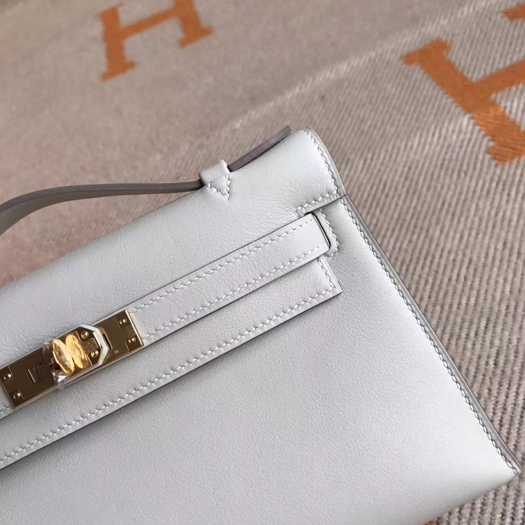 Noble Hermes Swift Calfskin Minikelly Pochette 22CM in CK80 Grey Pearl