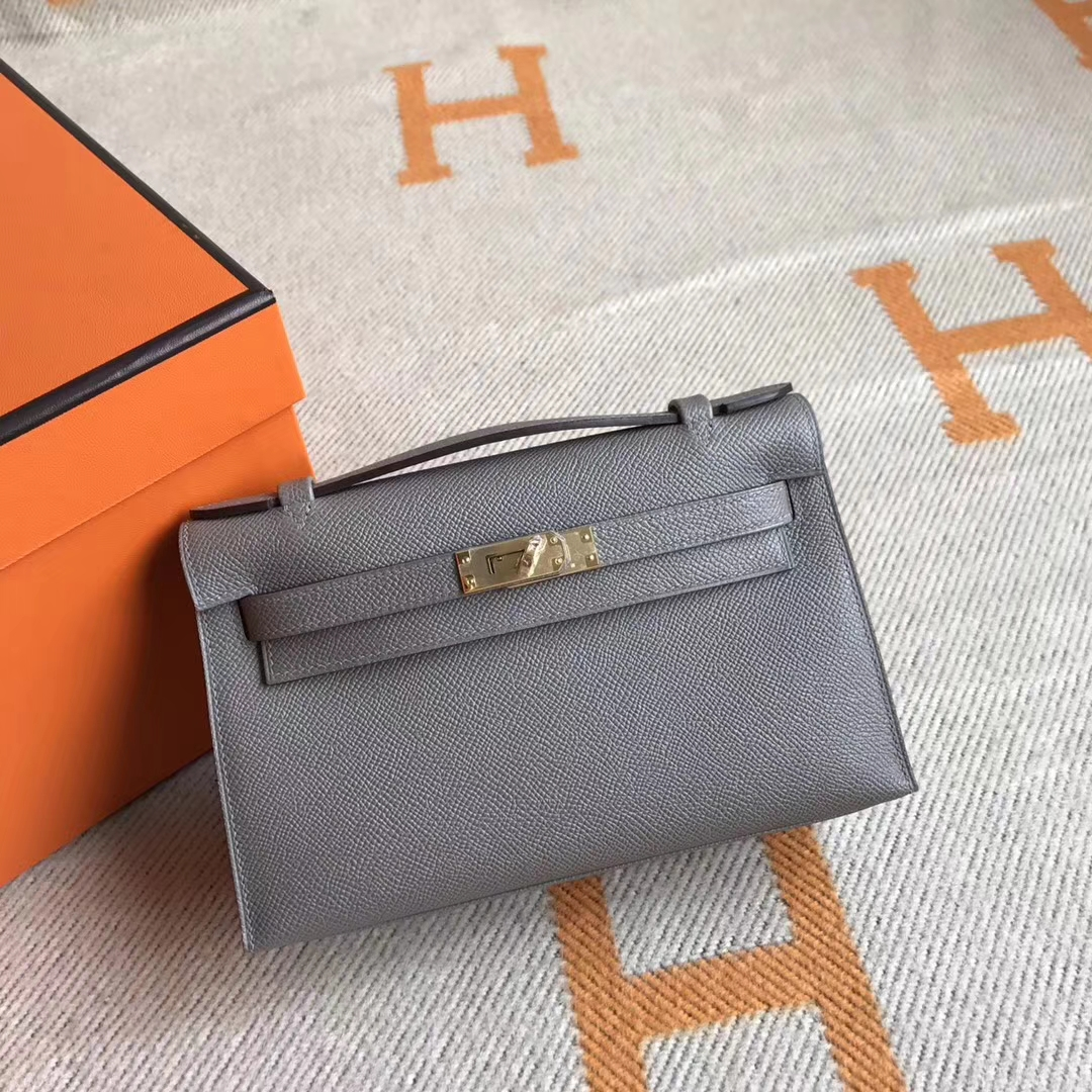Sale Hermes 8M Gris Pairs Epson Calfskin Minikelly Clutch Bag22CM