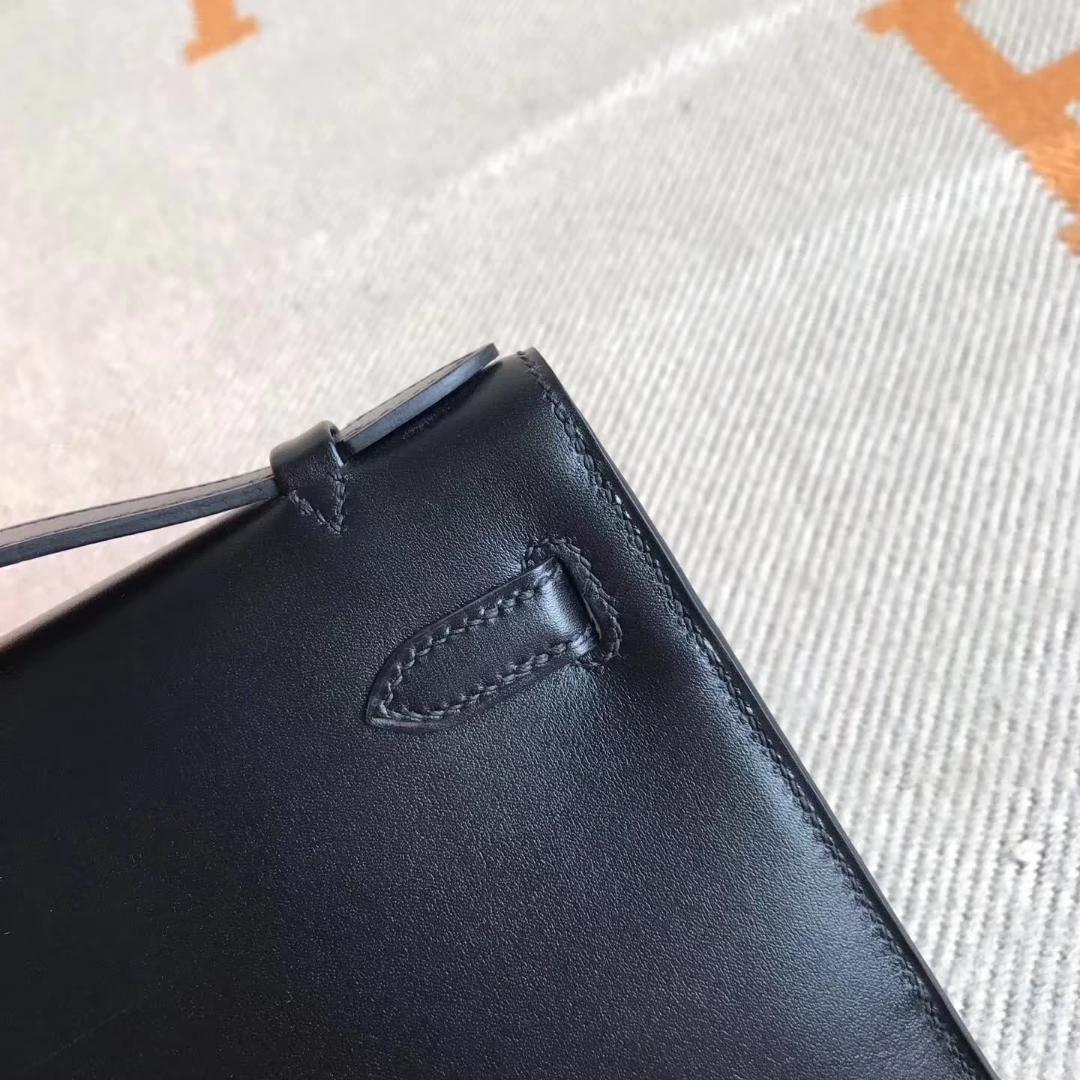 Elegant Hermes Box Calfskin Minikelly Pochette Cluth Bag22CM Gold Hardware