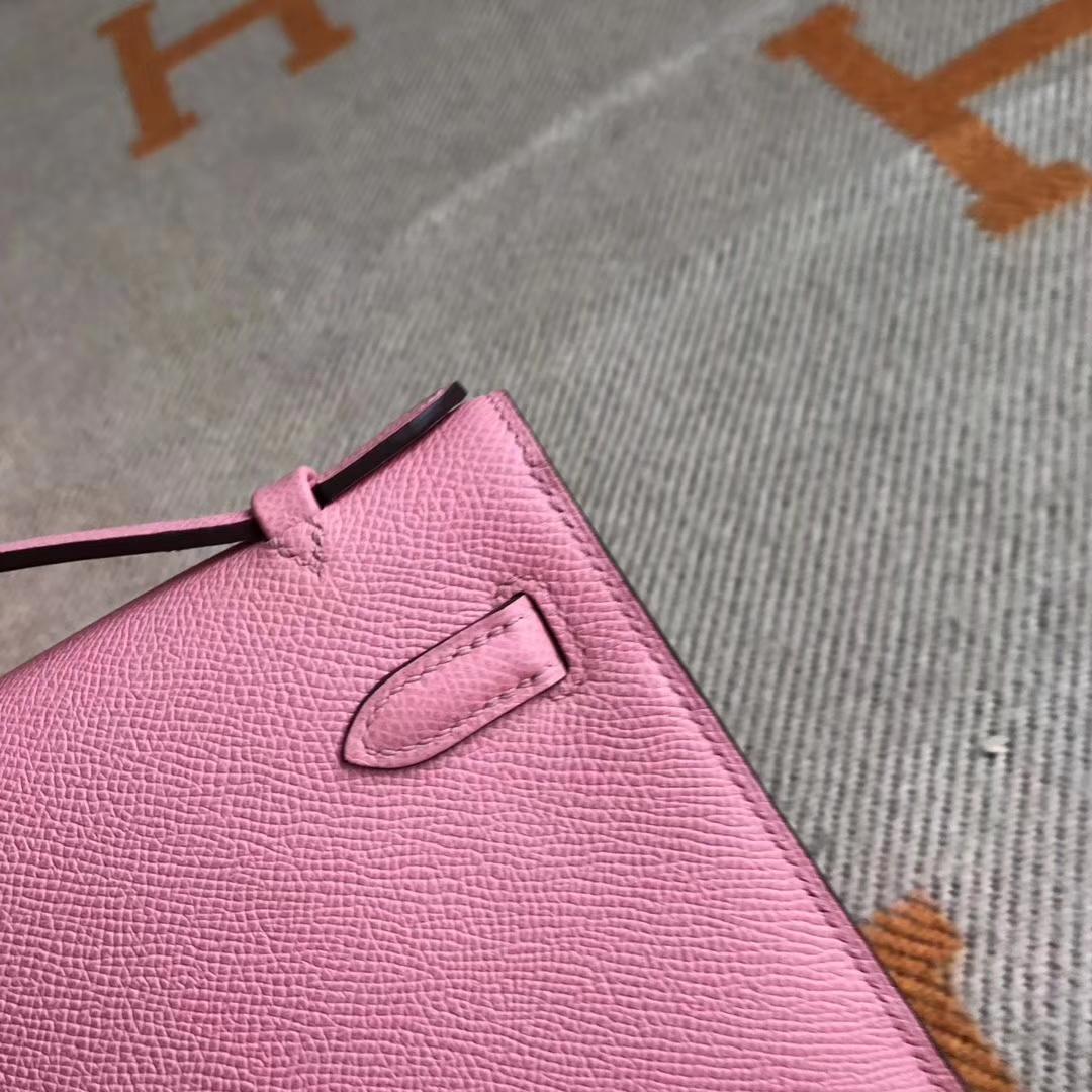 Discount Hermes 1Q Rose Confetti Epsom Calfskin Minikelly Clutch Bag22CM