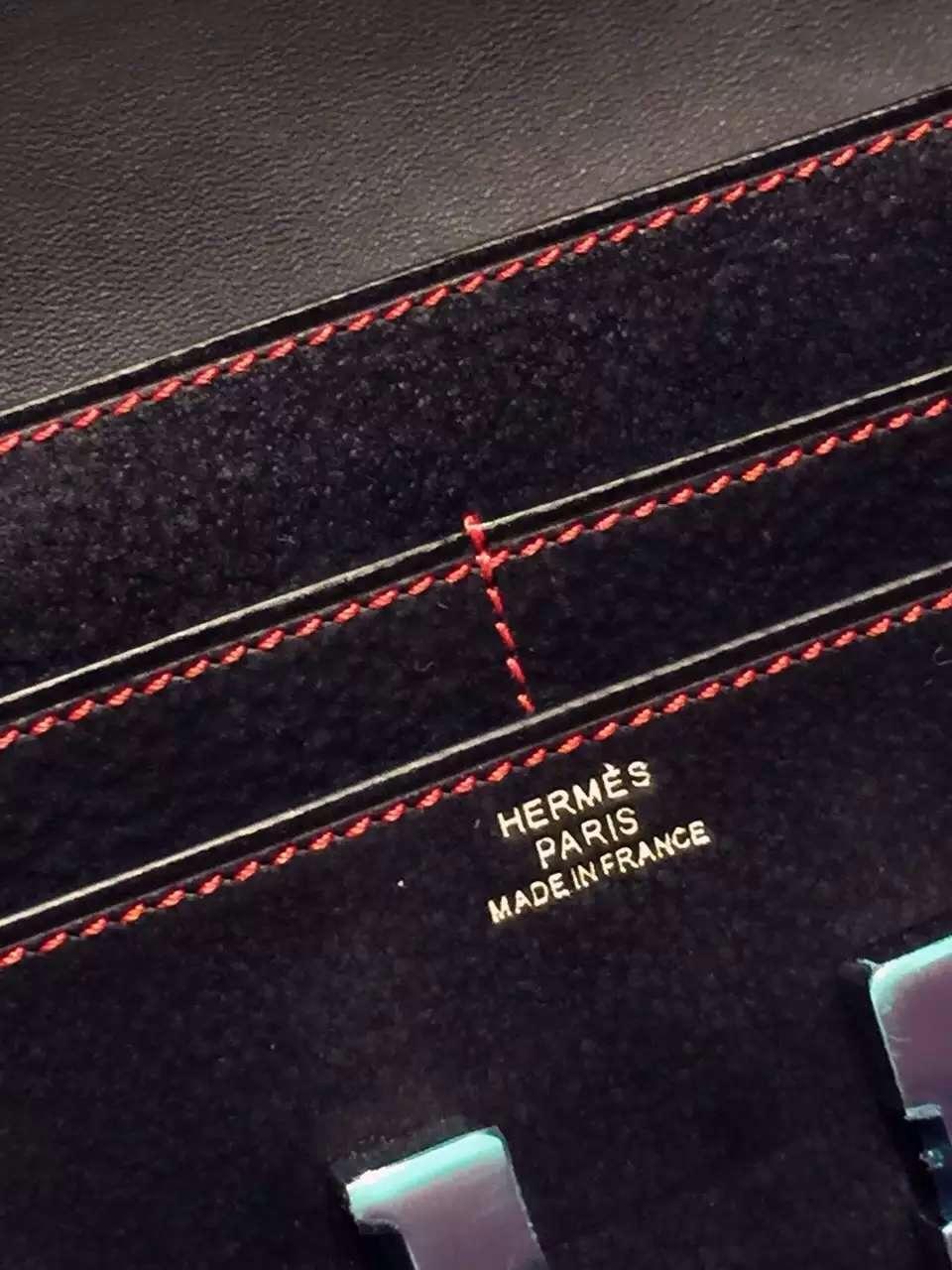 Wholesale Hermes CK89 Black Suede Leather Constance Wallet Women's Long Purse 21CM