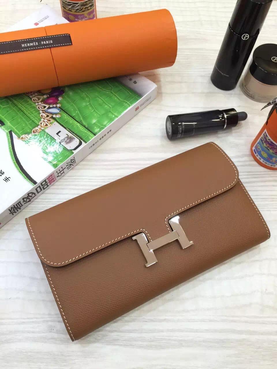 Hot Sale Hermes Coffee Epsom Leather Long Constance Wallet Clutch Bag 21CM