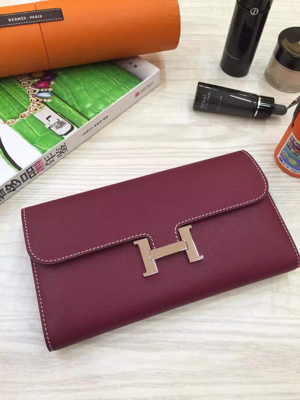 Hand Stitching Hermes Constance Wallet Burgundy Epsom Leather Clutch Handbag