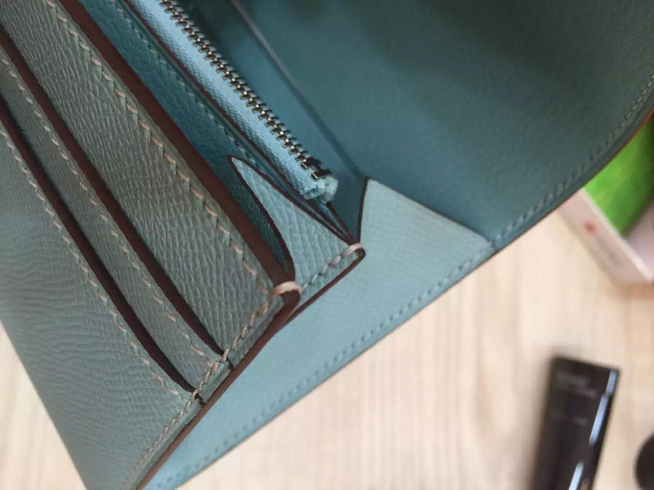 Wholesale Hermes Light Blue Epsom Leather Constance Wallet Purse Clutch Bag