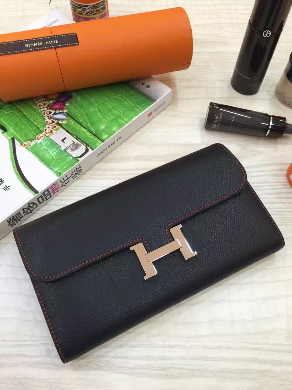 Luxury Hermes Black Epsom Leather Constance Wallet Long Purse 21CM