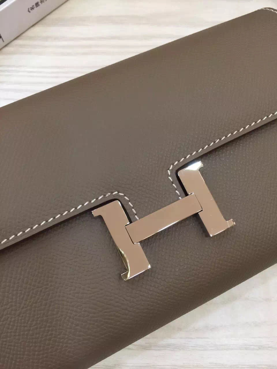 Hand Stitching Hermes Constance Wallet Etoupe Grey Epsom Leather Clutch Bag 21CM