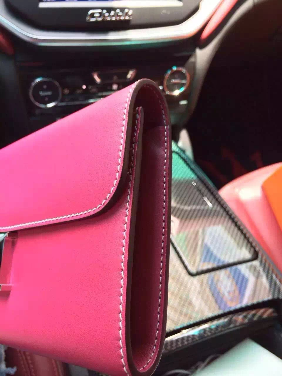 Customized Hermes Hot Pink Swift Leather Constance Wallet Women's Clutch Bag