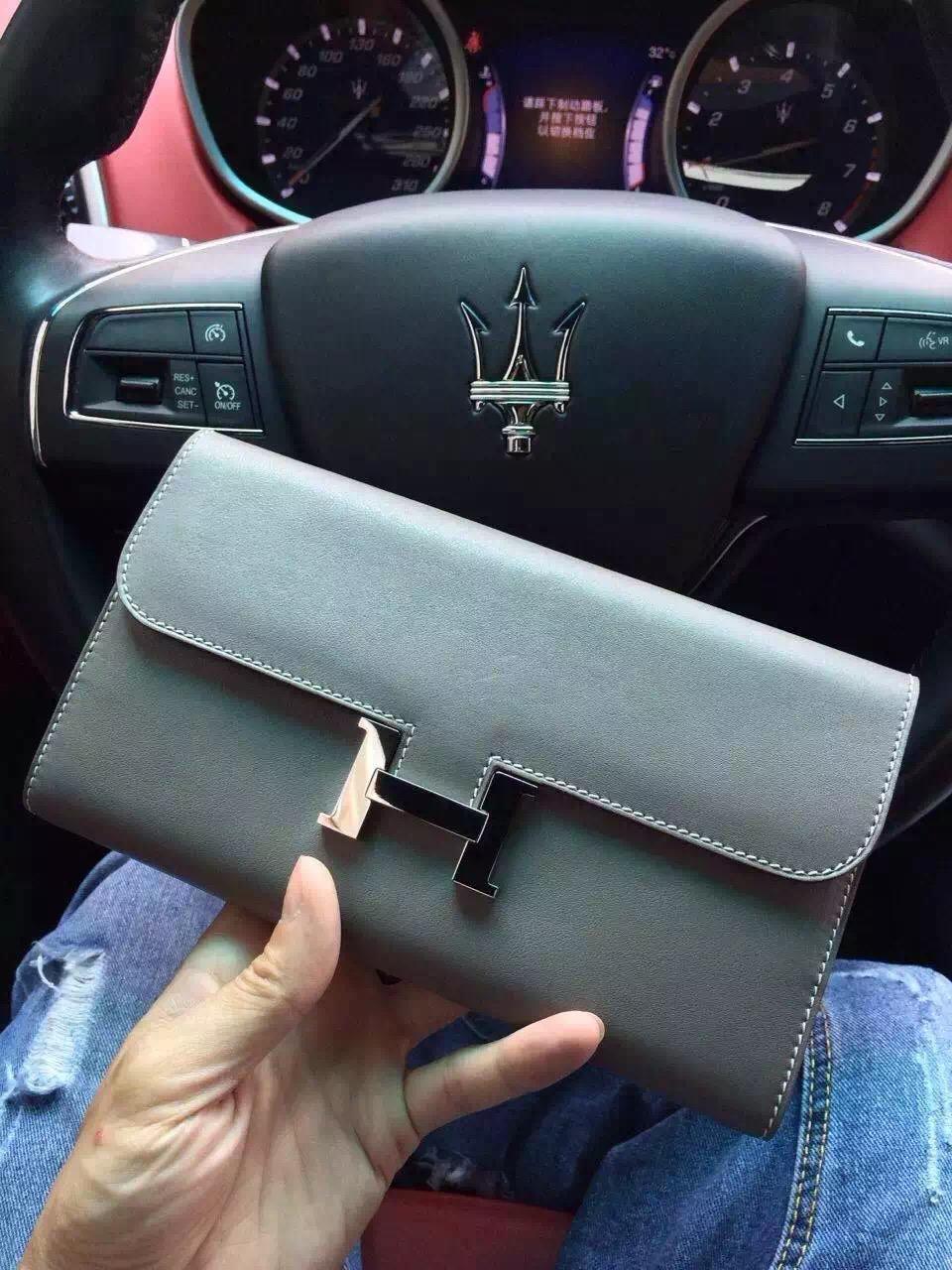 Wholesale Hermes Grey Original Swift Leather Constance Wallet Clutch Bag