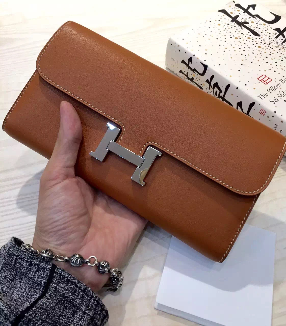 Hermes Vip Customized 2H Camel Color Swift Leather Constance Wallet Long Purse