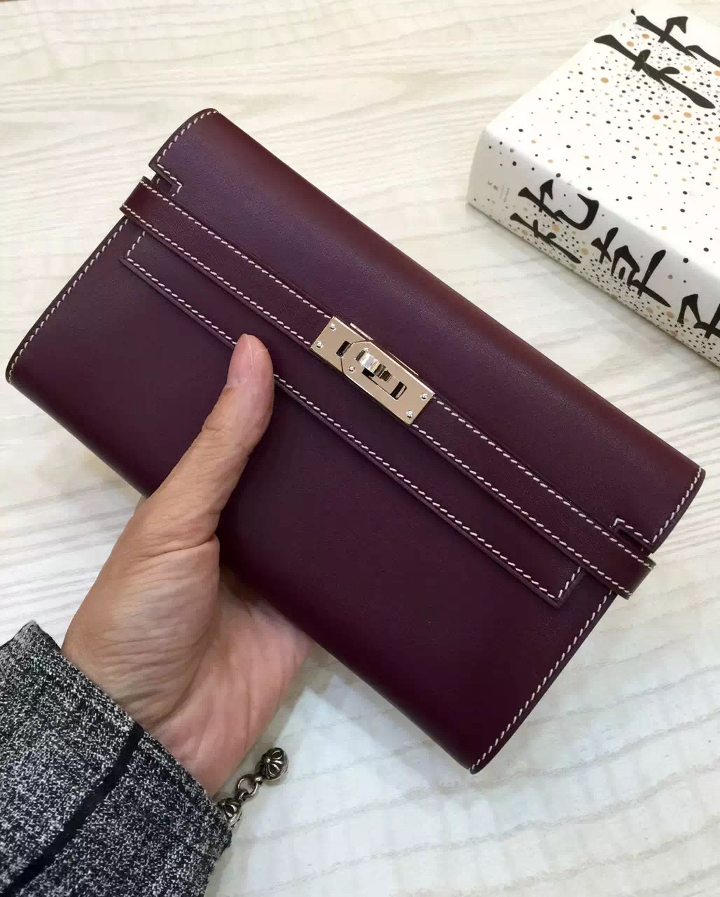 Hot Sale Hermes Custom-made Bordeaux Red Swift Leather Constance Wallet