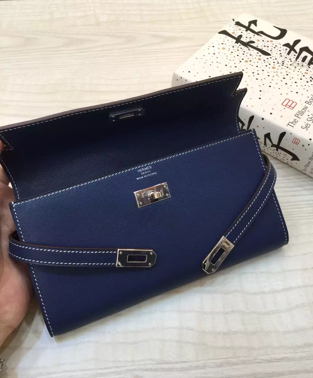 Discount Hermes Constance Wallet 7A Royal Blue Swift Leather Clutch Bag