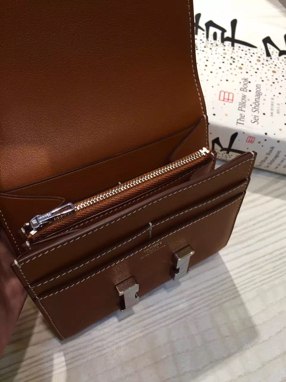 Hermes Custom-made Short Constance Wallet 2H Camel Color Swift Leather