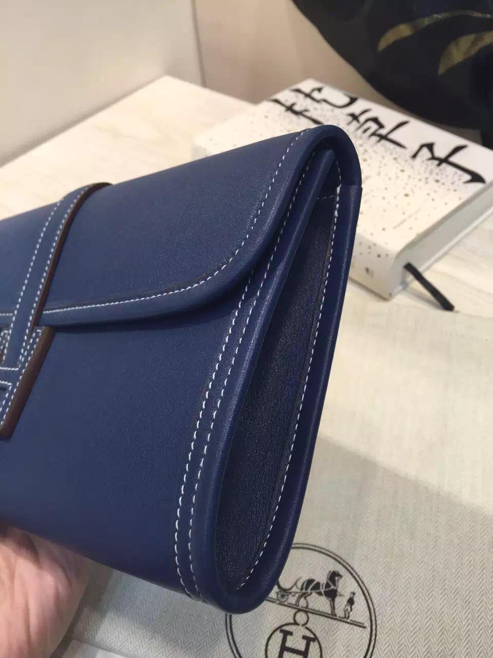 High Quality Hermes Jige Elan Wallet Clutch Bag 7Q Mykono Blue Swift Leather