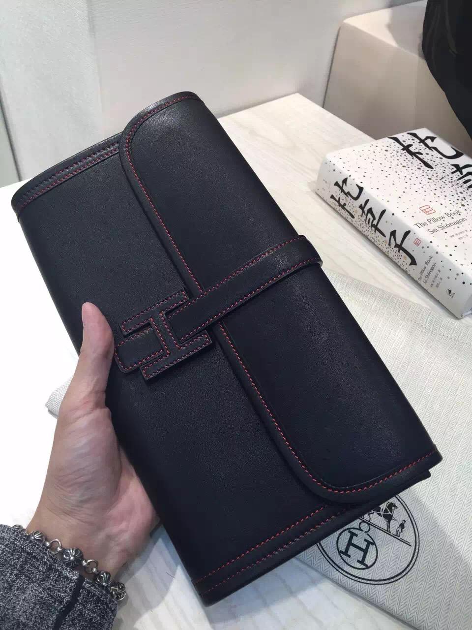 Elegant Hermes 89 Black Original Swift Leather Jige Elan Wallet Clutch Bag