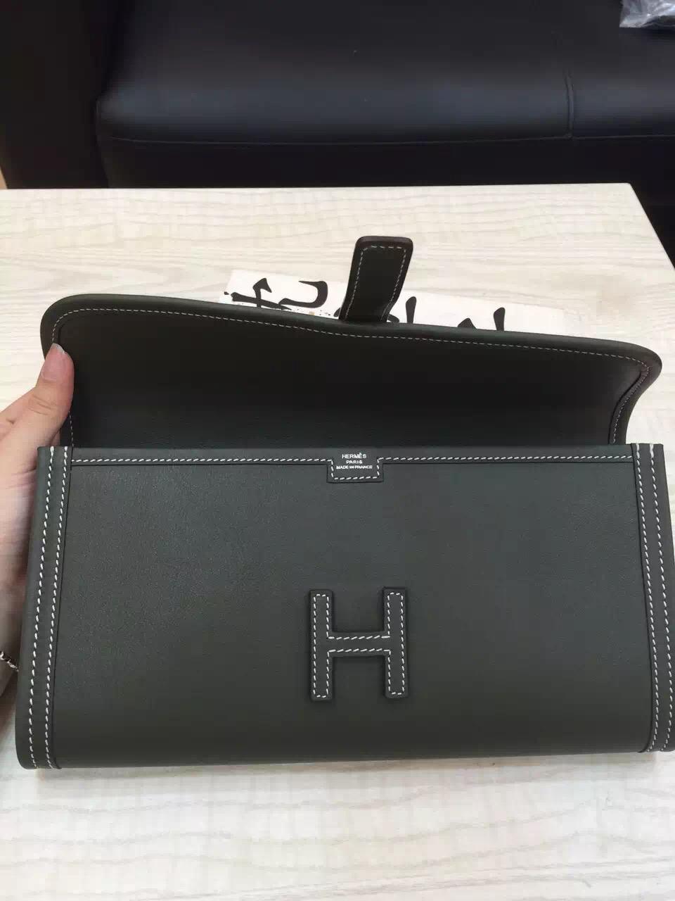 Discount Hermes Jige Elan Wallet V6 Canopee Green Swift Leather