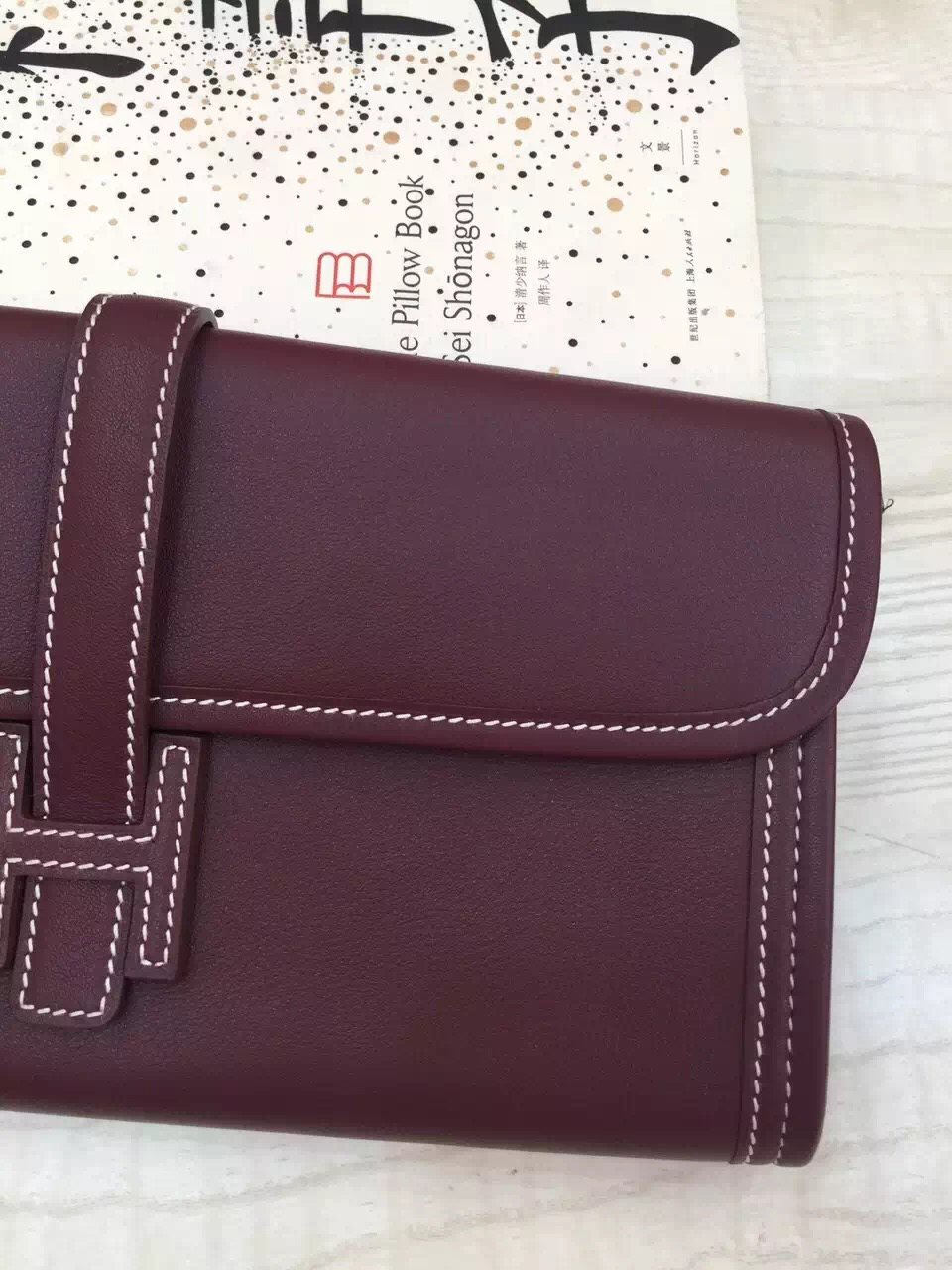 Hand Stitching Hermes 57 Bordeaux Swift Leather Jige Elan Clutch Bag