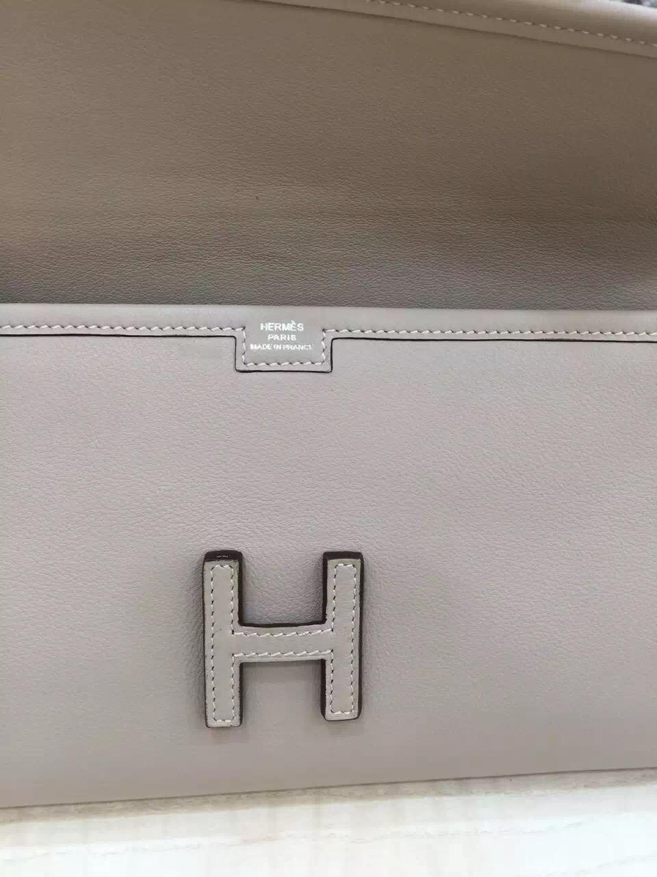 Wholesale Hermes Jige Elan Wallet 80 pearl grey Swift Leather
