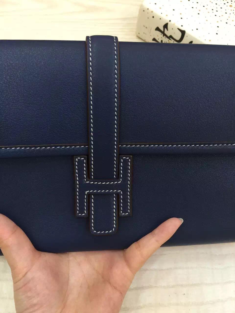 Online Hermes 7Q Royal Blue Swift Leather Jige Elan Wallet Clutch