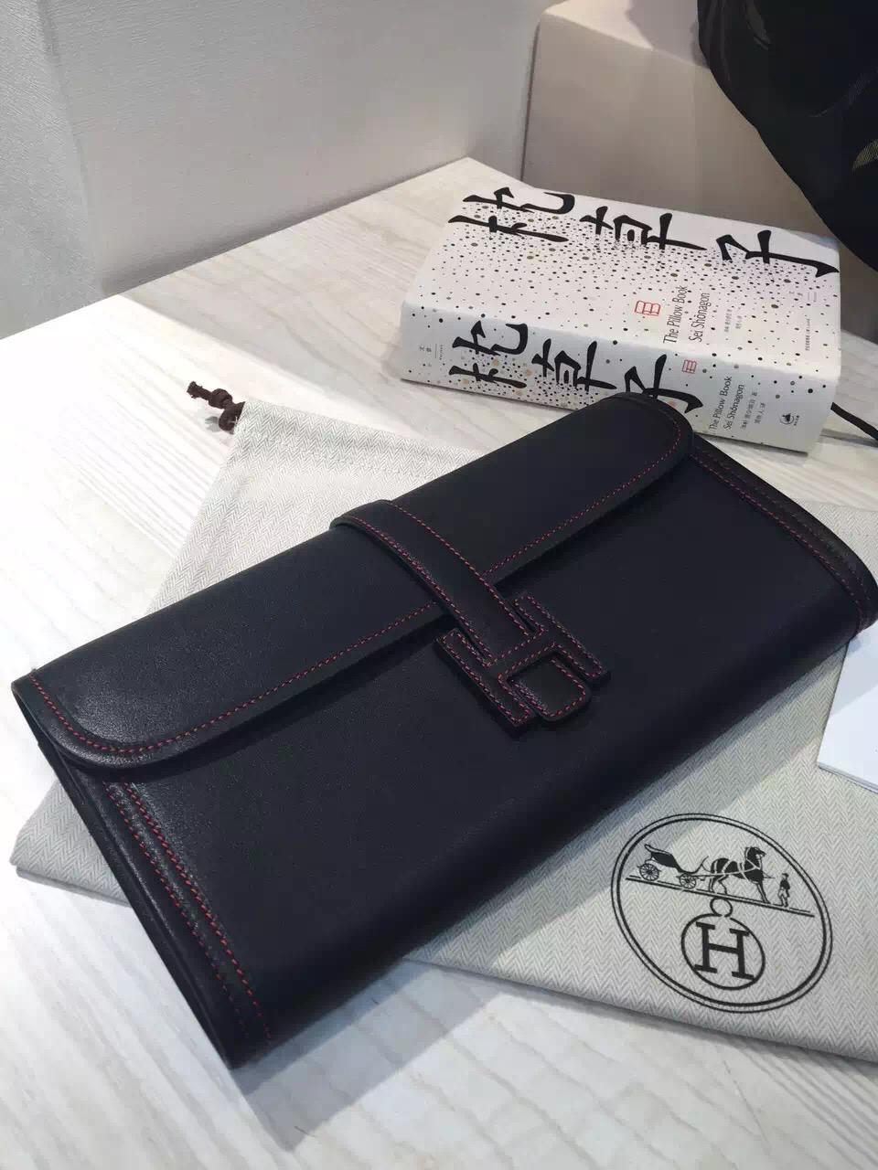 Hand Stitching Hermes Swift Leather Jige Elan Clutch Handbag in Black