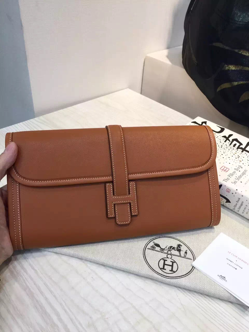 Wholesale Hermes Jige Elan Wallet 2H Camel Color Swift Leather
