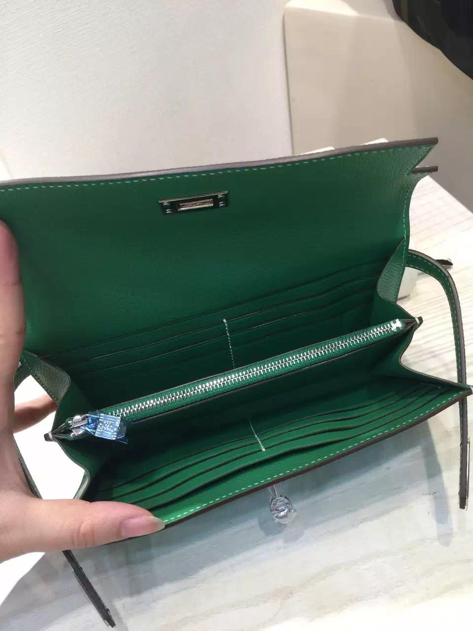 Discount Hermes Epsom Leather Bamboo Green Kelly Wallet Clutch Handbag