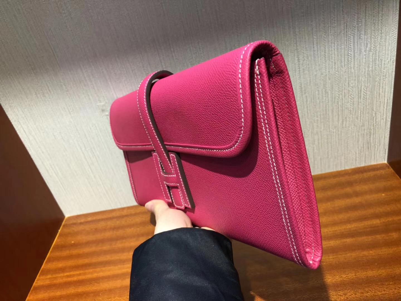 Pretty Hermes Epsom Calf Jige Wallet Women's Clutch Bag Wallet in E5 Rose Tyrien