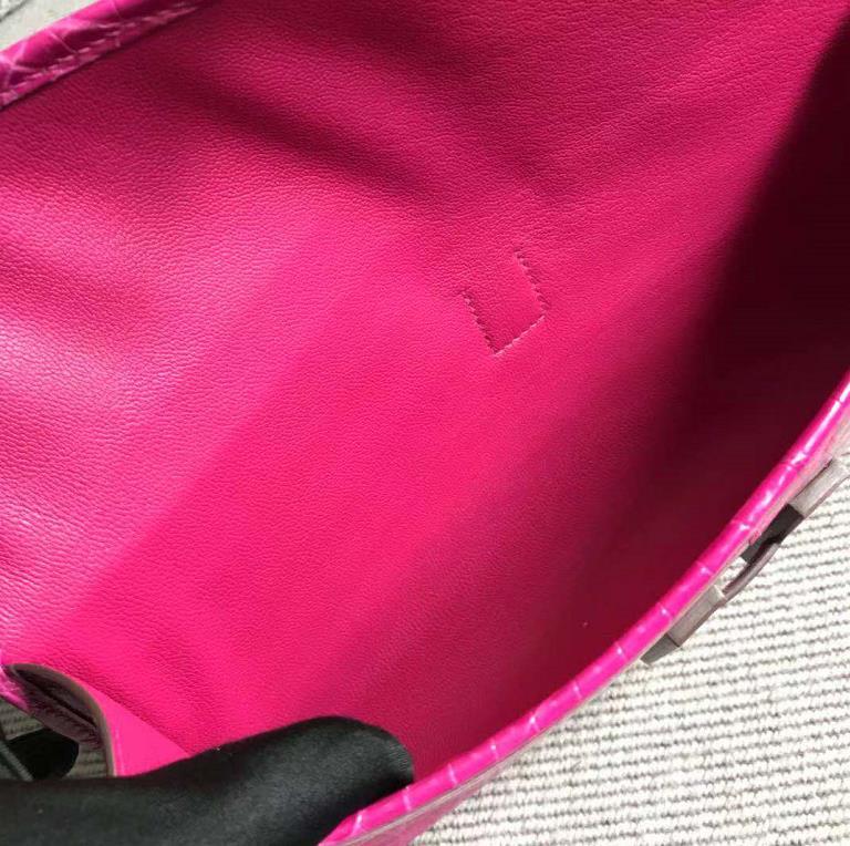 Stock New Arrival Hermes Rose Tyrien Shiny Crocodile Jige Wallet Clutch Bag