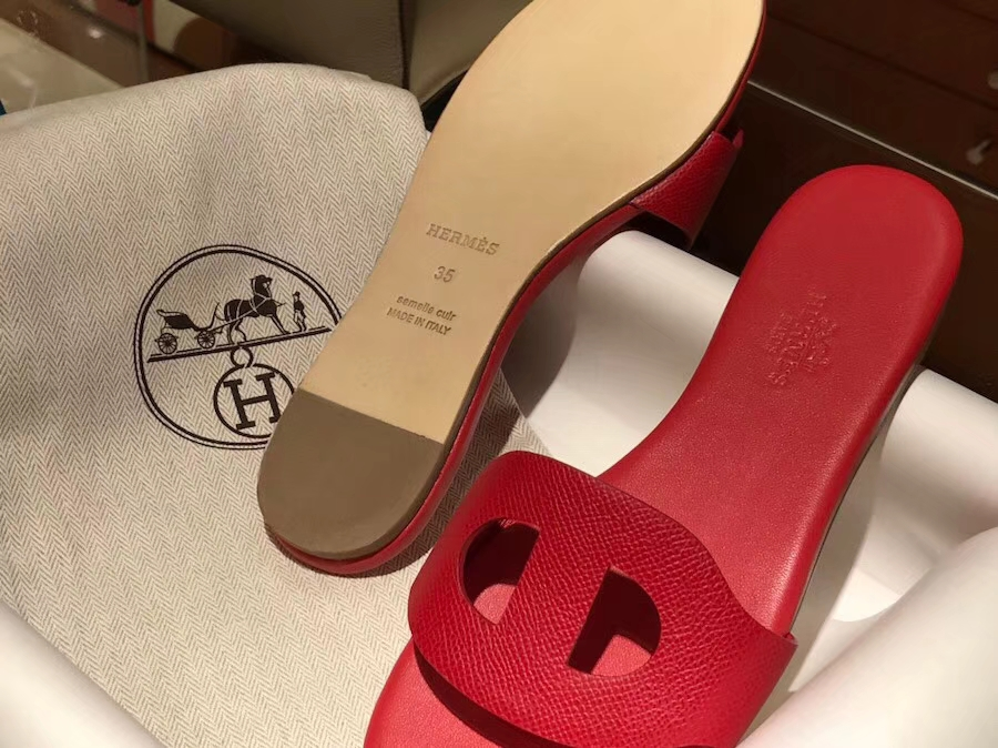 Pretty Hermes Epsom Calf Leather Sandals Slippers Women's Shoes in Red Size35-41