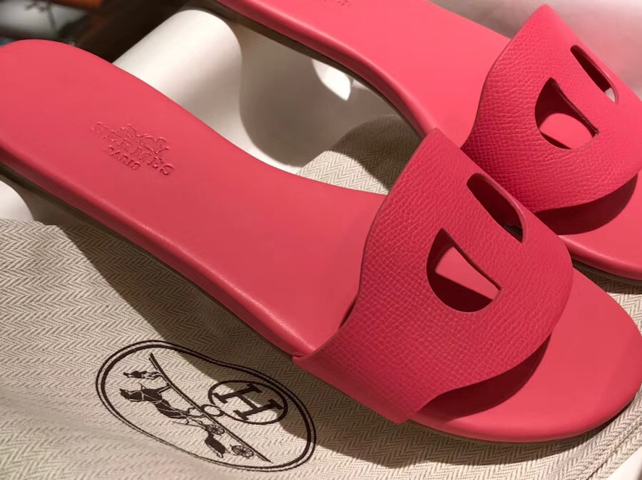 Fashion Hermes Calf Leather New Sandals Slipper Shoes in Rose Lipstick Size35-41