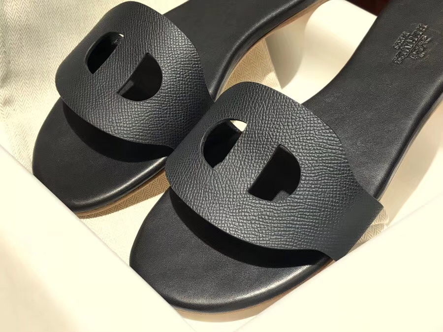 Elegant Hermes Black Epsom Leather Flat Heel Sandals Slippers Shoes Size35-41