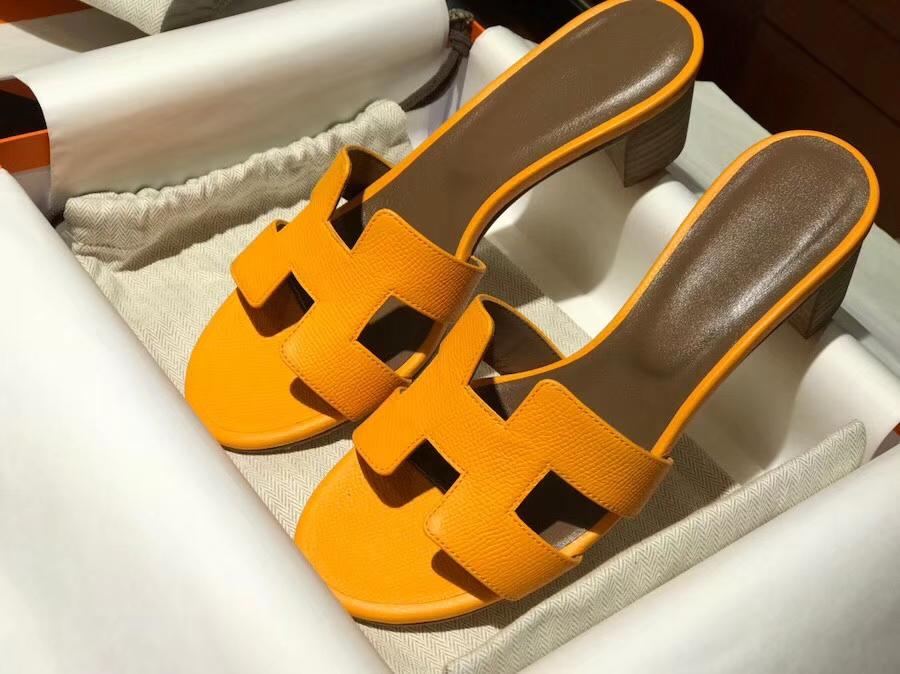 Fashion Hermes Sun Yellow Epsom Calf Middle Heel Women's Sandals Slippers