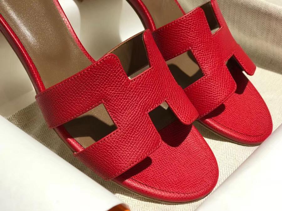 Discount Hermes Epsom Calf Middle Heel Women's Sandals Shoes in Rouge Casaque