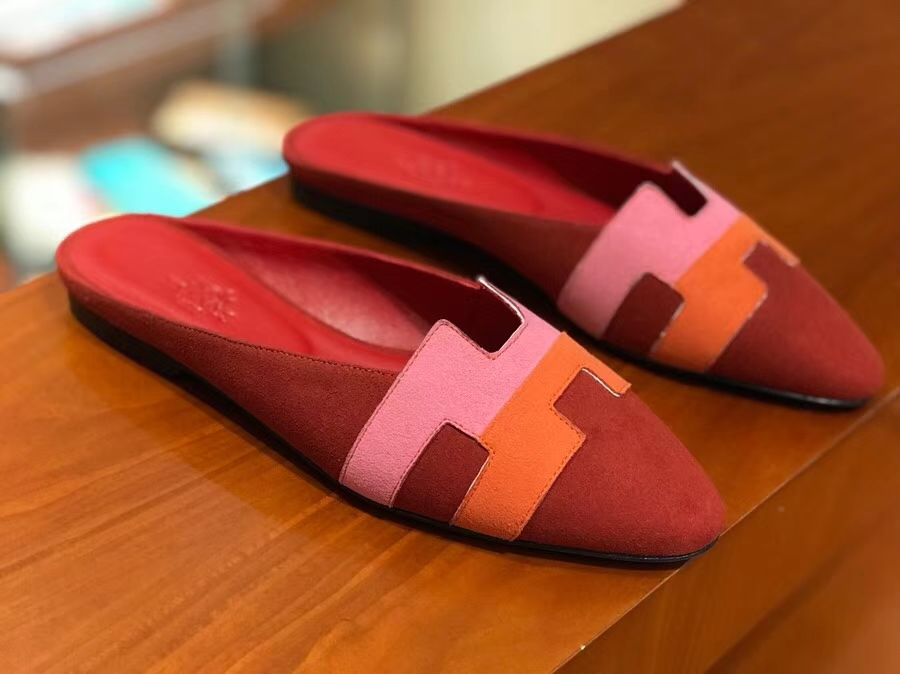 Hermes Autumn New Women's Sandals Chamois Leather Flat Shoes Size36-40
