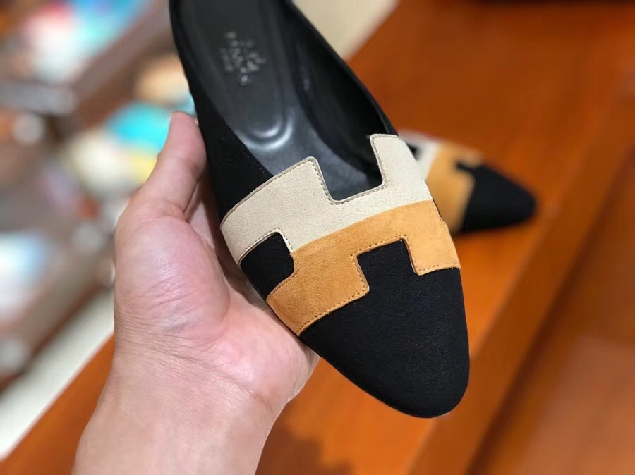 New Hermes Black Multicolor Chamois Leather Women's Flat Sandals Shoes