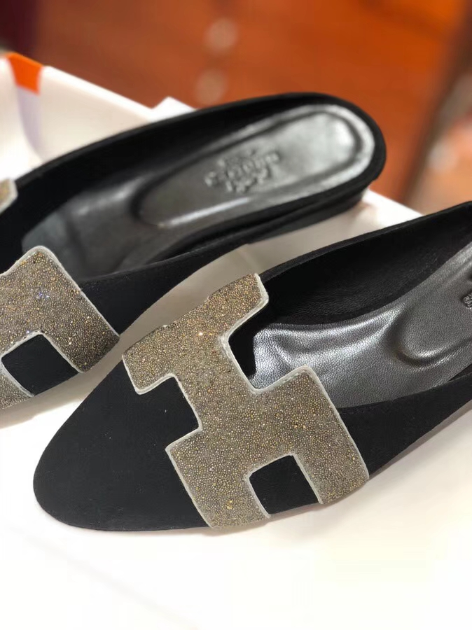 Elegant Hermes Crystal H Cutting Black Chamois Leather Women's Flat Shoes Sandals 36-40