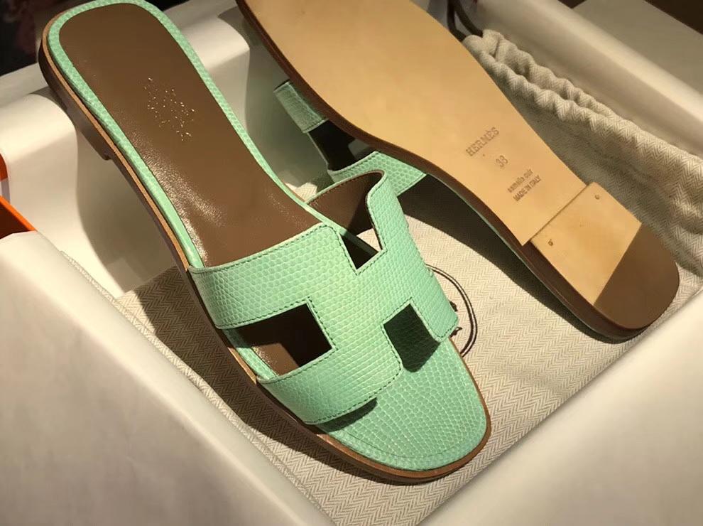 Noble Hermes Mint Green Lizard Leather Women's Flat Heel Sandals Shoes35-41