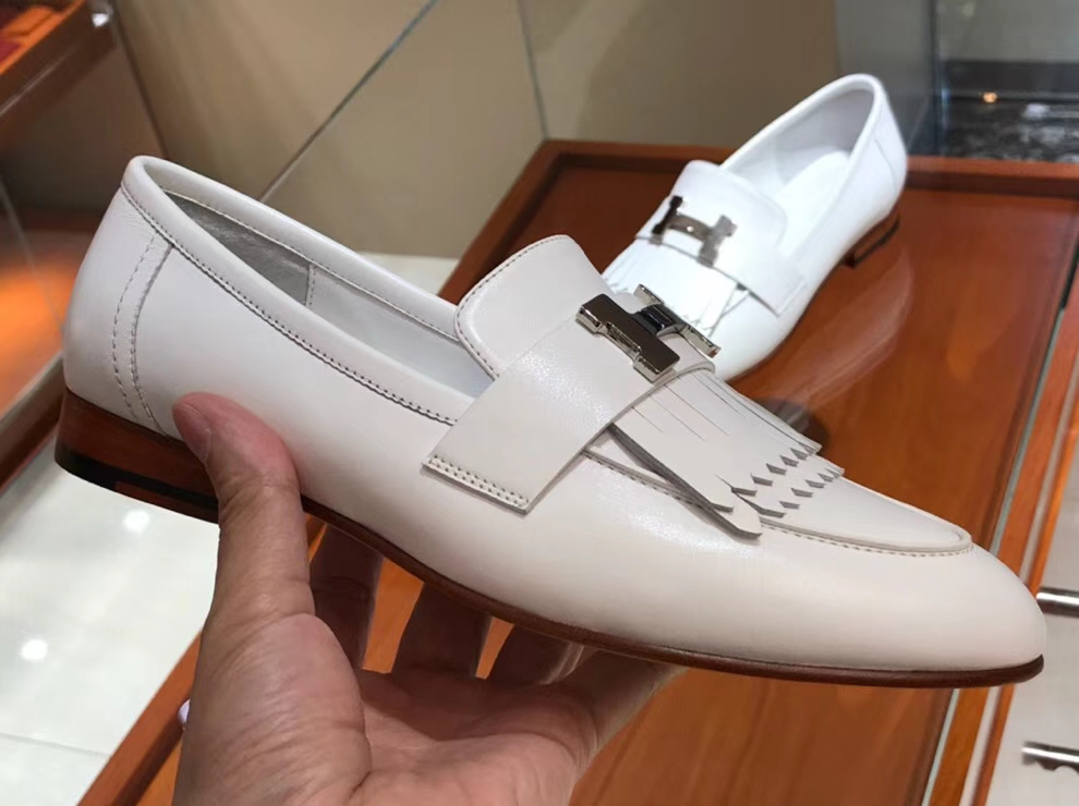Discount Hermes White Chevre Leather Autumn Fringe Flat Women's Shoes35-41