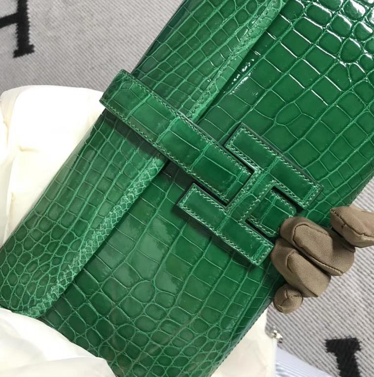 Stock Wholesale Hermes Shiny Crocodile Jige Wallet Clutch Bag in Vert Cacti