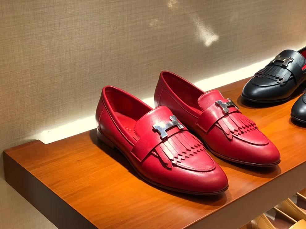 Pretty Hermes 2018 Autumn Chevre Leather Fringe Flat Shoes in Rouge Casaque