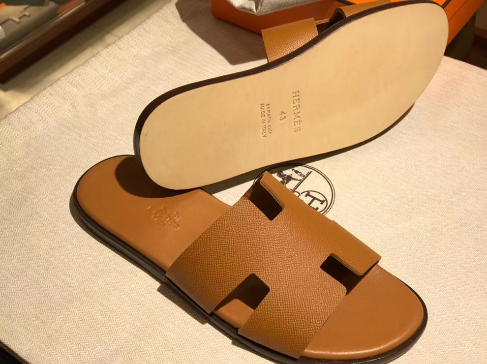 Wholesale Hermes Epsom Calf Leather Men's Classic Sandals Shoes in Gold