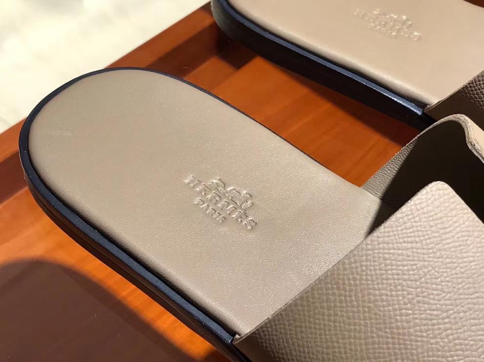 Wholesale Hermes Etoupe Grey Epsom Calf Classic Men's Sandals Size39-44