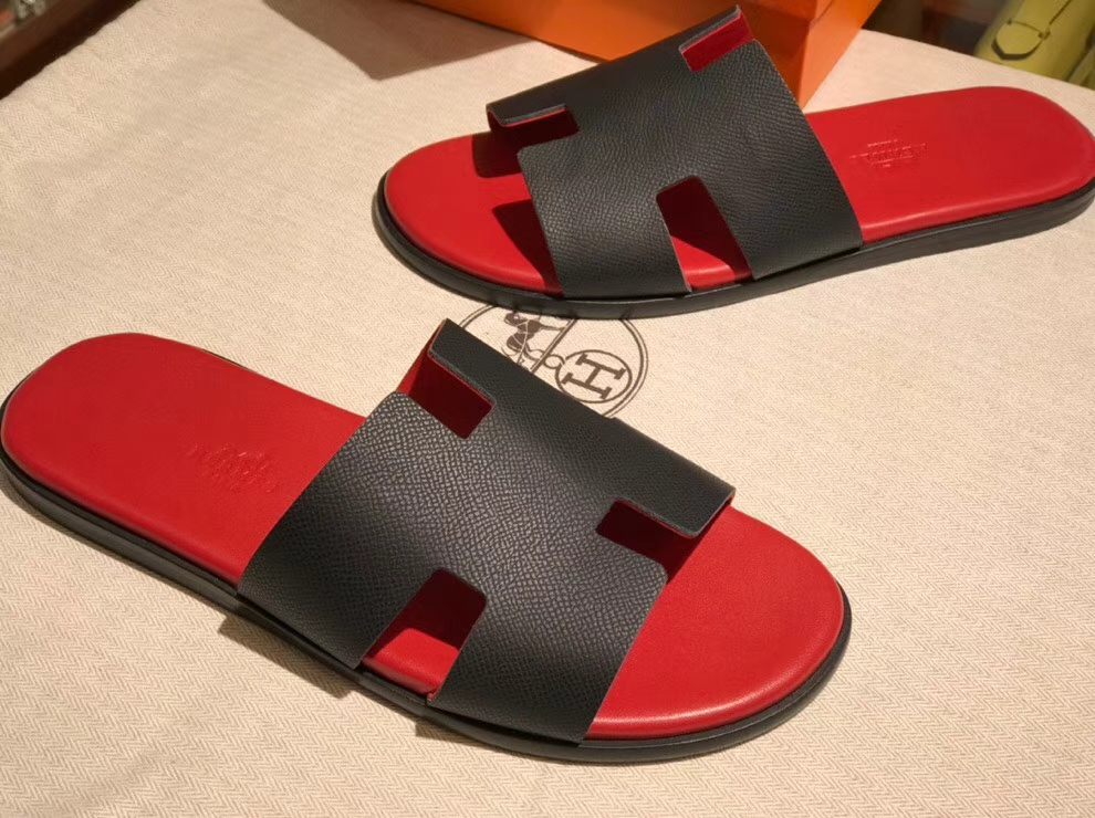 Fashion Hermes Red & Black Epsom Calf Men's Classic Sandals Shoes39-44
