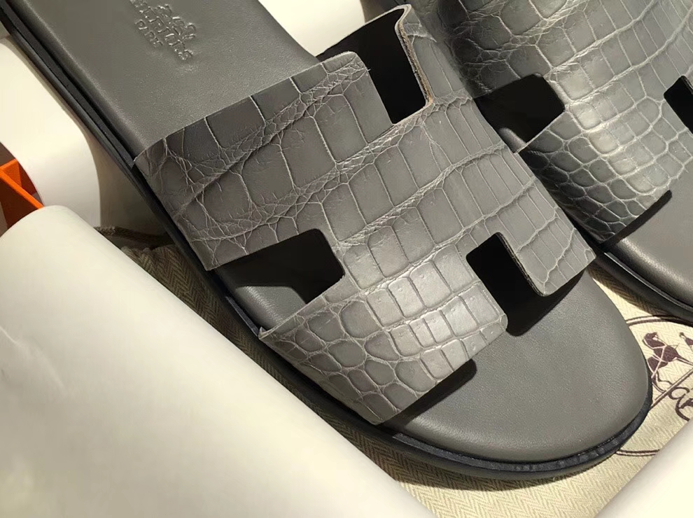 Sale Hermes CrocodileLeather Men's Sandals Shoes in Iron Grey Size39-44