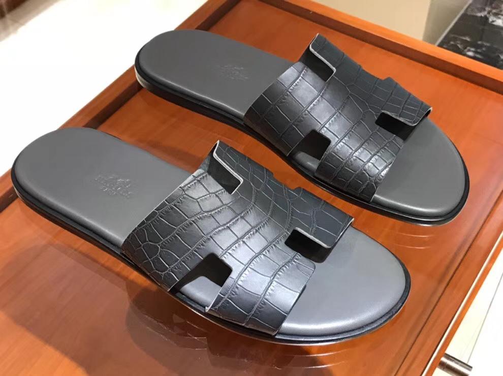 Discount Hermes MattCrocodileLeather Men's Sandals in Graphite Grey Size39-44