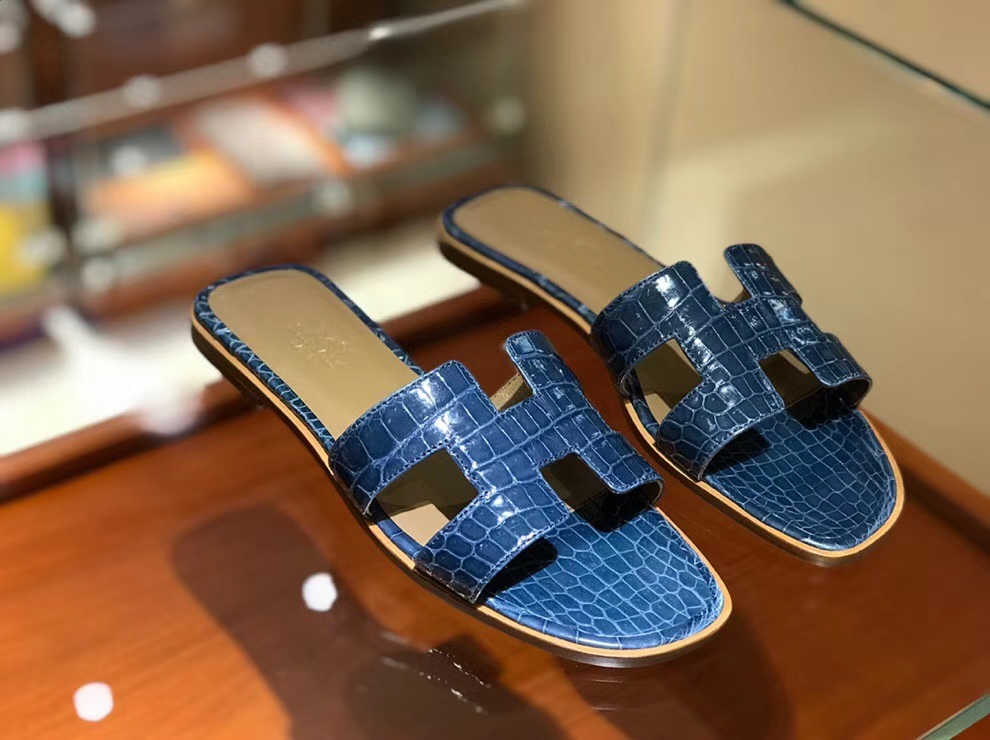 Luxury Hermes Blue Prussia Crocodile Leather Women's Sandals Shoes Size35-41