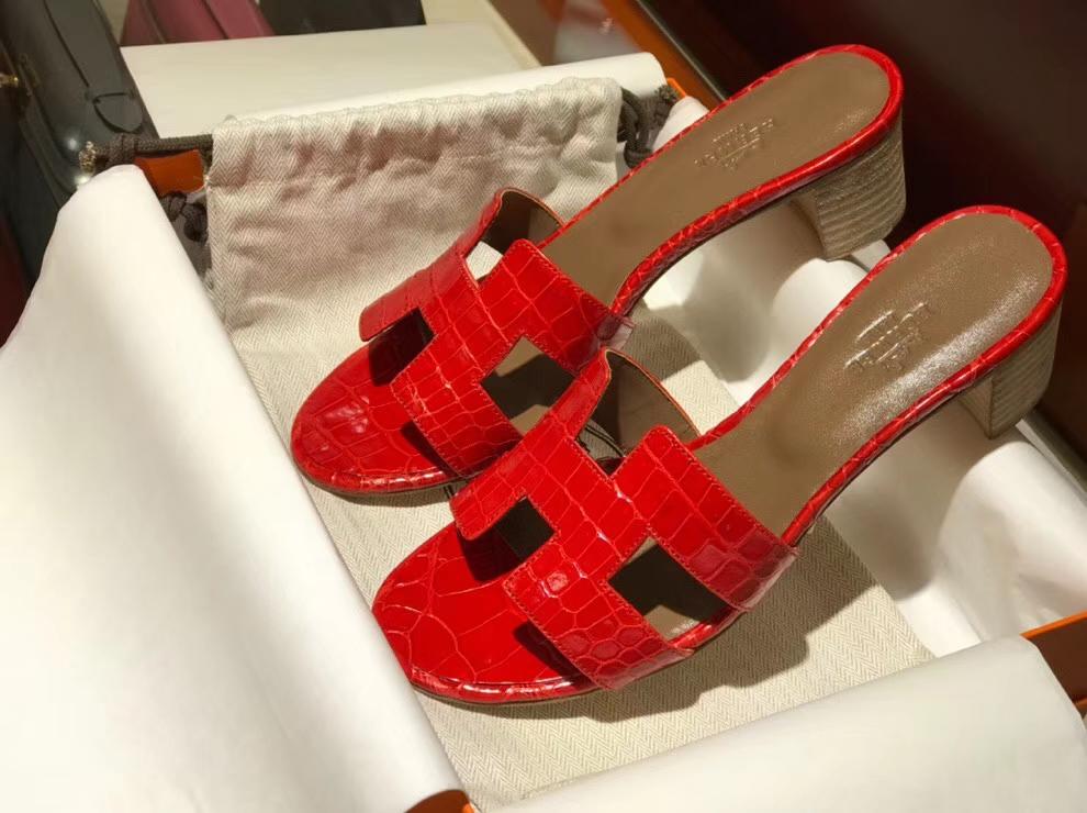 Sale Hermes Braise ShinyCrocodile Sandals Women's Shoes Middle Heel 4CM